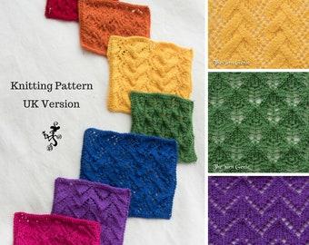 Lace Wash Cloths Knitting Pattern (UK), Learn Lace Knitting Wash Cloths Pattern, Tutorial Pattern Face Cloths, Dish Cloths Knitting Pattern