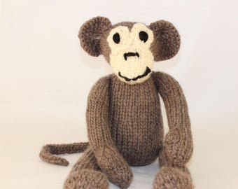 Knitting Pattern (UK) for Mischief Monkey - a loveable knitted monkey.  Worked in stocking stitch.  Knit flat or in the round.
