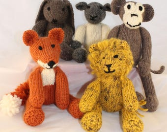 Knitting Patterns (US) for Rebecca Rabbit, Freddie Fox, Leonard Lion, Mischief Monkey and Lucy Lamb.  Knit all 5 loveable animals.