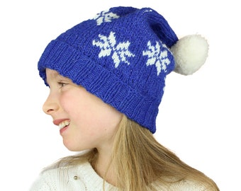Knitting Pattern - Winter Wonderland Hat - Fair Isle colorwork snowflake bobble hat. Sizes toddler, child, adult. Instant pdf download.