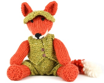 KNITTING PATTERN: Clothes for Freddie Fox Toy - UK Terms - Fox Toy Pattern Not included - Detailed pdf Project Book - Instant Download