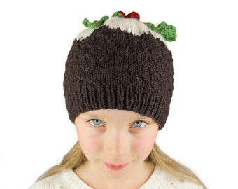 Christmas Pudding Hat - KNITTING PATTERN - UK terms - toddler, child adult sizes - instant pdf download - novelty hat - Christmas beanie