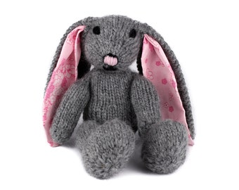 Knitting Pattern (UK): Rebecca Rabbit - a sweet floppy knitted bunny rabbit. Knit flat or in the round. Easter bunny gift idea. Knitted gift