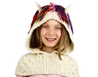 Knitting Pattern (UK) for Ulysses Unicorn Hooded Cowl. Rainbow Unicorn snood, scoodie, hooded scarf. Easy pdf knitting pattern download.