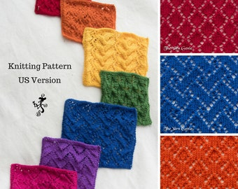 Lace Wash Cloths Knitting Pattern (US), Lace Knitting Tutorial Pattern, Lace Dish Cloths Face Cloths, Learn Knitting Patterns, Beginner