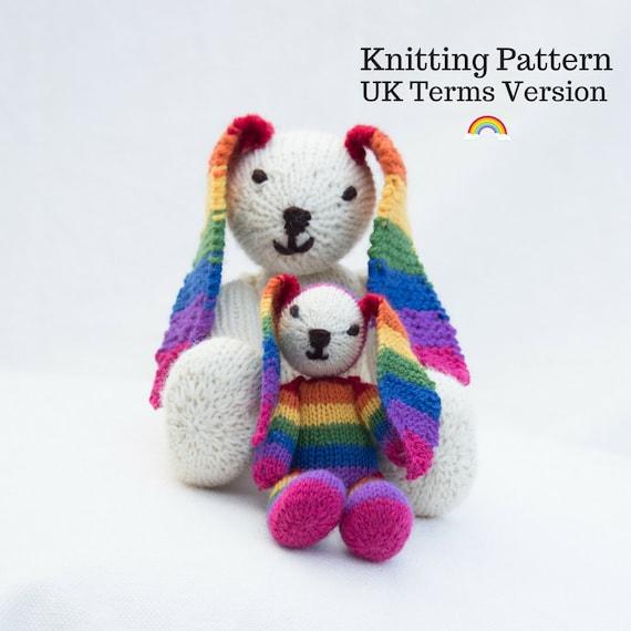 Rainbow Bunny Knitting Pattern Uk Rainbow Rabbit Knitting Etsy