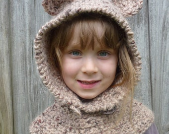 Crochet Pattern (US) Bear Hood. Sizes baby, children, adult. Chunky yarn. Quick + Easy. Helpful detailed pattern.  INSTANT DOWNLOAD