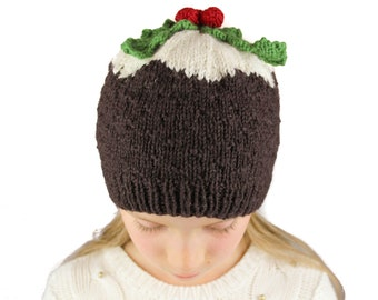 Christmas Pudding Hat Knitting Pattern (US terms) - Christmas novelty hat - sizes adult, child, toddler - instant pdf download.
