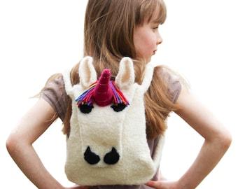 UK Knitting Pattern Child's Felted Unicorn Backpack, Unicorn Bag Knitted Bag Pattern, Unicorn Knitting Pattern, Child's Bag, Knit Pattern