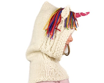 Knitting Pattern (US) Ulysses Unicorn easy knitted rainbow unicorn scoodie hooded scarf or cowl. Instant pdf download. Sizes baby to adult