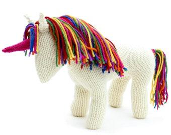 KNITTING PATTERN: Waldorf inspired Unicorn Toy - UK Terms -  Rainbow Unicorn or Pony Knitting Pattern  - Instant pdf Download
