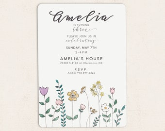 Simple Flower Birthday Invitations /// Spring Floral /// FREE SHIPPING!