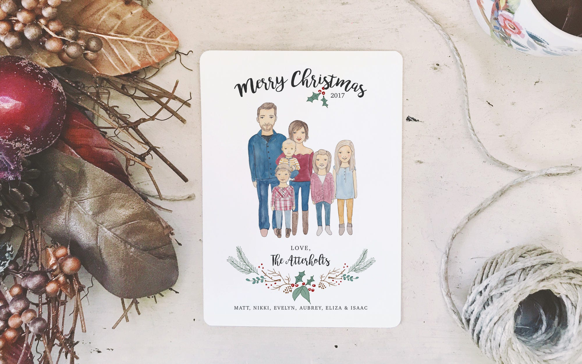 Custom Family Portrait Christmas Cards /// 5x7 Watercolor | Etsy