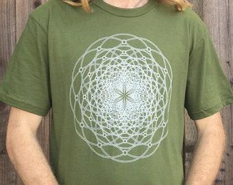 The Torus Flux  - Unisex Organic Cotton T Shirt / Sacred Geometry Clothing / Festival Clothing / Organic / Flower of Life / Organic Clothing