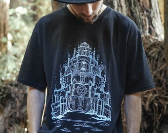 Vimana - Organic Cotton Unisex T Shirt / sacred geometry tee shirt / Space Ship /  Sci-fi / UFO / Alien / Seed of Life /Castle in the sky
