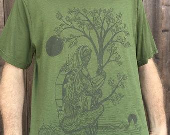The Slothstronaut - Hemp shirt / Organic Shirt / Sloth Shirt / Nature / Sloth / Astronaut / Hemp T shirt / Space / Sci-fi / Trees / Nature