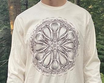 GAIA - Organic Cotton Unisex Long Sleeve T Shirt / Organic cotton / earth shirt / Sacred Geometry / Natural / planet / Gaia / Earth shirt