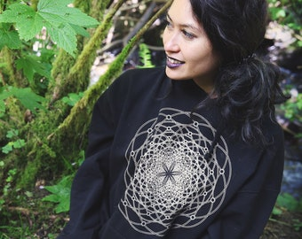 The Torus Flux  - Unisex Organic Cotton Pullover Hoodie / Sacred Geometry Clothing / Festival Clothing / Organic / Seed of Life / Flower