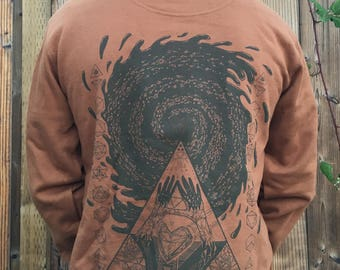 I Love Triangles - Unisex Organic Cotton Sacred Geometry Hoodie / Sacred G/ Festival Clothing / Triangles / Heart / Galaxy / Pyramids