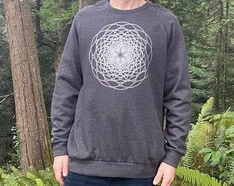 Torus Flux - Organic Cotton Crew Neck Sweatshirt / Sacred Geometry / Festival Clothing / Seed of Life / Flower of Life shirt / Geometric