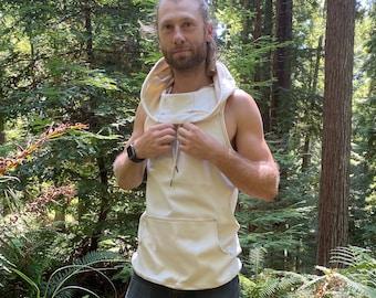 The Portal Tank - Organic Cotton Natural Hooded Tank Top / Kangaroo Pocket / Sacred Geometry Hoodie / Men's / Women's / Unisex tank / Ninja