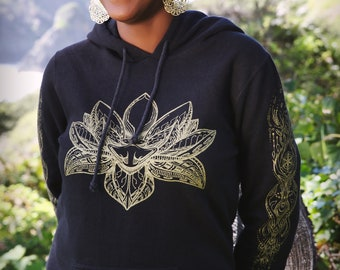 Reversible Silk Paisley Festival Hood, Sacred Geometry Hood, Hood with stash pocket, Geometric Print Hood
