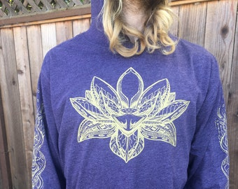 The Lotus - Unisex Lightweight Pullover Hoodie / Lotus Shirt / Sacred Geometry Clothing / Festival / Women's Hoodie / Flower / Seed of Life
