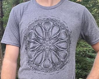 GAIA - Organic Cotton Unisex T Shirt / Organic cotton / Earth / Sacred Geometry / Natural / planet / Gaia / mens / Geometric design
