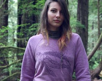 Fleece Raglan Sweater with Pouch - The Marine Metropolis / Sea Turtle / Nature / ocean / space shirt / spaceship / creature / futuristic