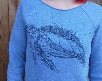 Women's scoop neck sweater - Marine Metropolis / Sea Turtle / Nature / ocean / underwater / space / spaceship / creature / futuristic