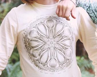 GAIA - Unisex Organic Cotton Long Sleeve T Shirt / Organic cotton / long sleeve / Sacred Geometry / Nature / Earth / Gaia / Earth tone