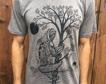 The Slothstronaut - Unisex Bamboo & Organic Cotton T Shirt / Sloth / Nature / Astronaut / Natural / Space / Sci-fi / Tree shirt / Pyramids