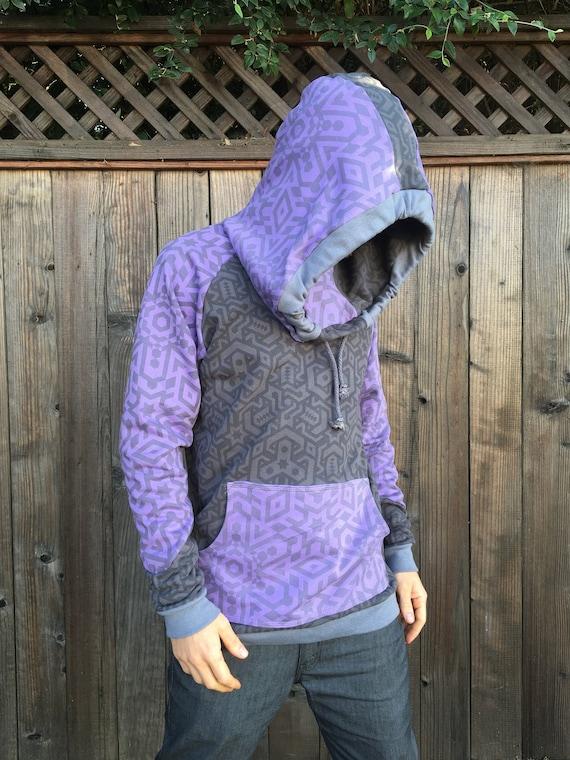 Sacred Love Large Hood Ripped Hoody Purple-Black Spiral