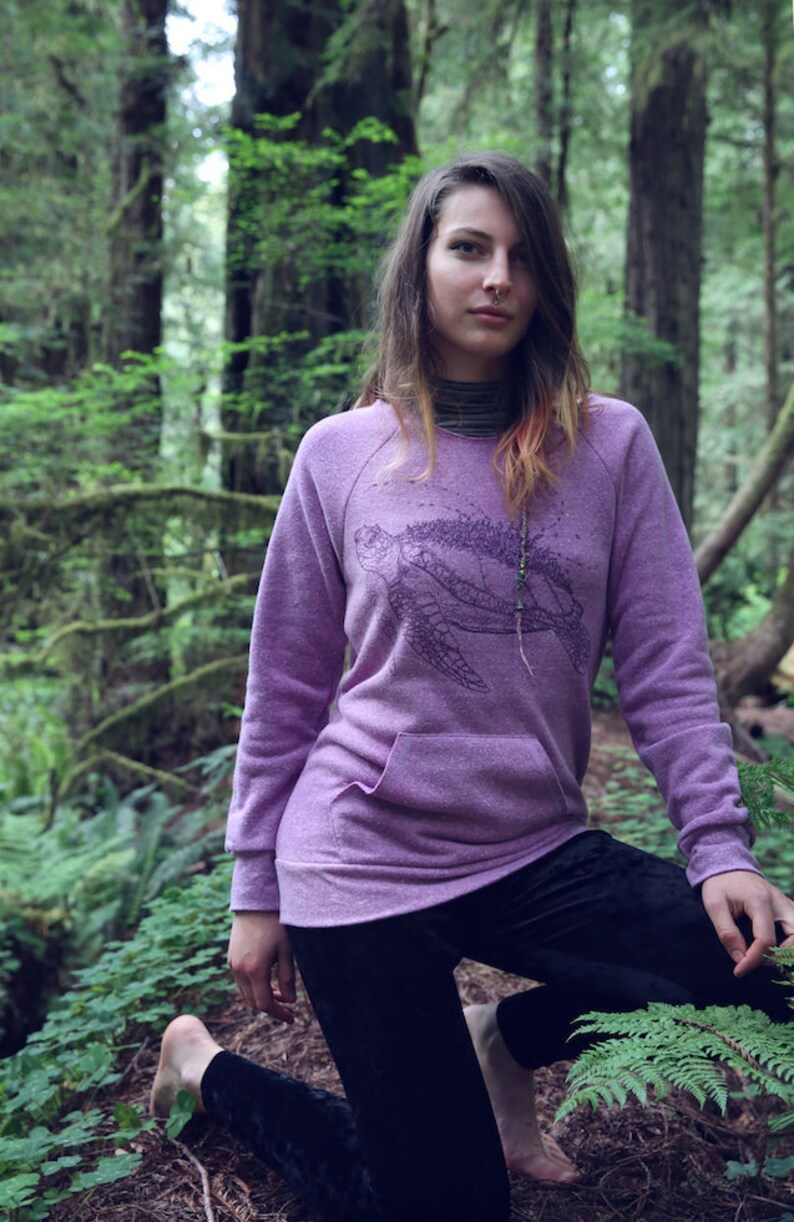 Fleece Raglan Sweater with Pouch  The Marine Metropolis / Sea image 0