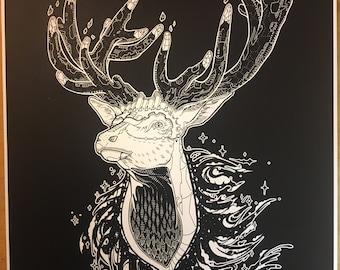 Antler City - Art Print / Elk / Nature / Forest Creature / Sci-Fi Spirit Animal / Crystal Horns / Cosmic Deer / Nature Art / Celestial