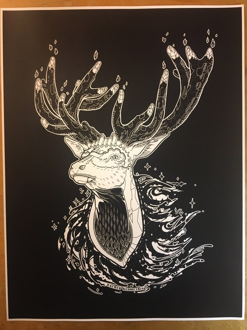 Antler City  Art Print / Elk / Nature / Forest Creature / image 0
