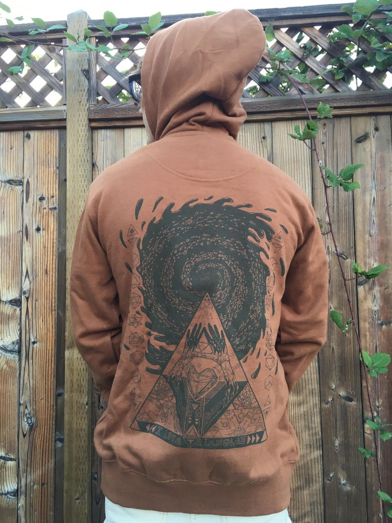I Love Triangles  Organic Cotton Brown Unisex Hoodie / Sacred image 0