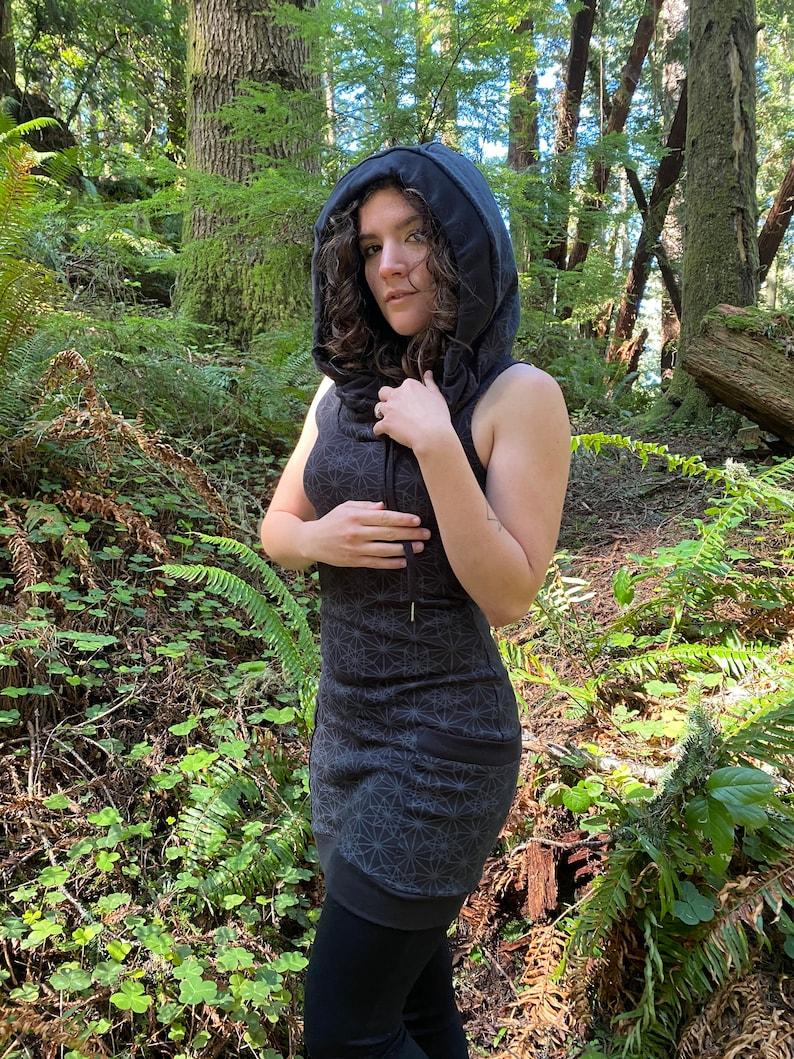 The Portal Tank Dress / Organic Cotton Sleeveless Black Cowl image 0