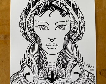 Serpentine Queen - Art Print / Sacred Geometry / Astronaut / Alien / Snake / Female Portrait / hand Drawn / Visionary / Sci-fi / Futuristic