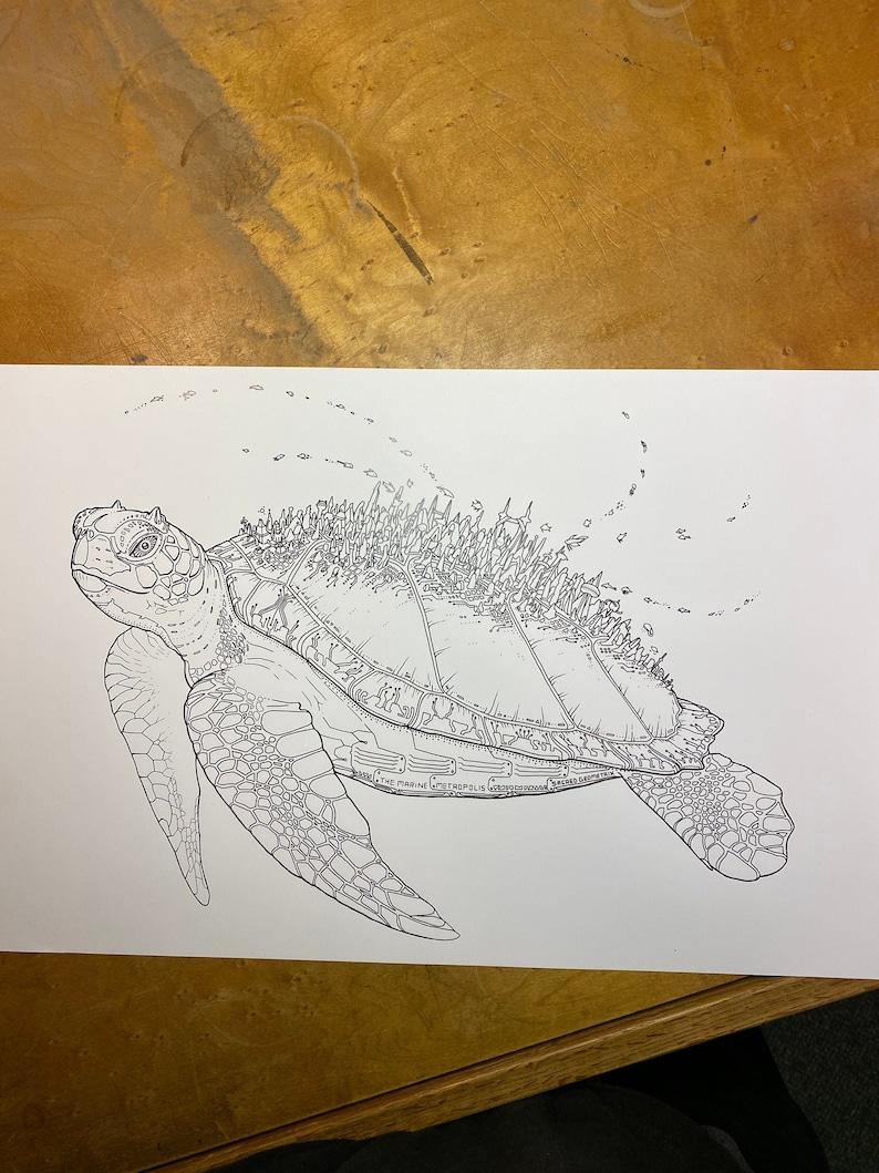 The Marine Metropolis  Art Print / Sea Turtle City / Sea Life image 0