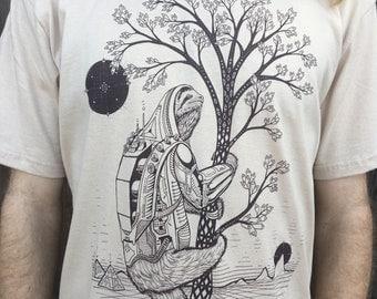 The Slothstronaut - Unisex Organic Cotton T Shirt / Sloth shirt / Nature / Astronaut / Natural / Space / Sci-fi / Tree shirt / Pyramids