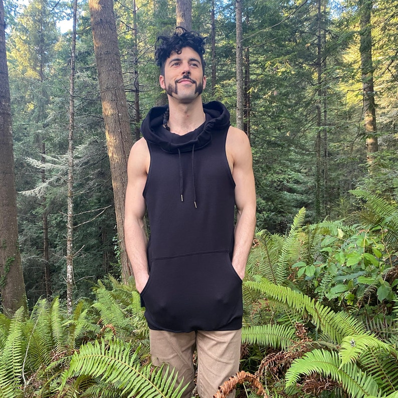 The Portal Tank  Organic Cotton Hooded Tank Top Void/ image 0