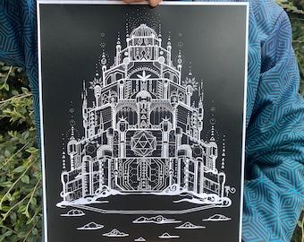 The Vimana - Art Print / Sci Fi Spaceship / Sacred Geometry Art / Pyramids / Visionary / Sci-fi Wall Art / Geometric / Fantasy / Sky Castle