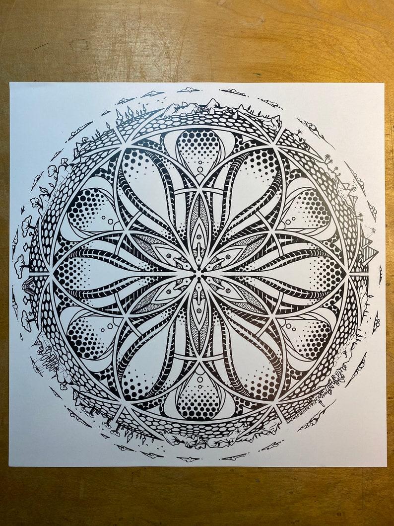 Gaia  Art Print / Sacred Geometry / Nature / Forest landscape image 0