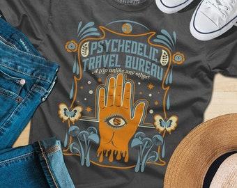 769e58aaf24 Psychedelic Travel Bureau Shirt - Psychedelic shirt - Trippy Festival Shirt  - Magic Mushroom (See SIZING CHART in Item Details)