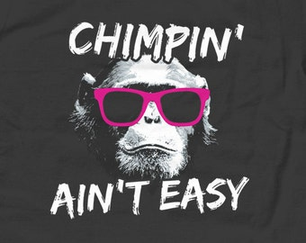Chimpin Ain't Easy Kids T-Shirt - Funny Geeky Nerdy Hipster Chimpanzee Ape Chimp - Youth and Toddler Sizes - 2T-Youth Large