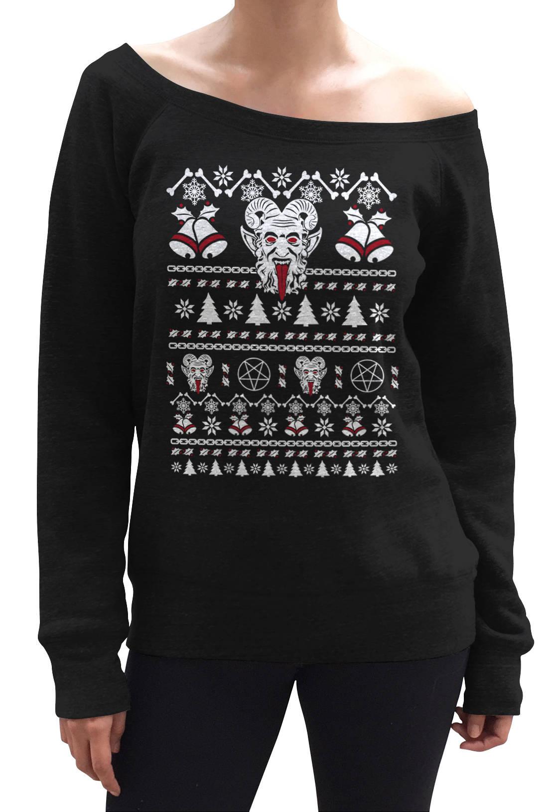 61808ef157 Ugly Krampus Christmas Sweater Scoop Neck Sweatshirt