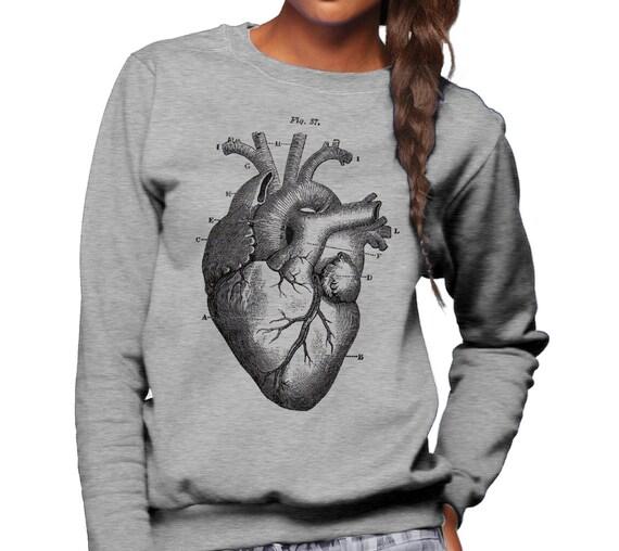 Corazón anatomía diagrama camiseta sudadera Unisex Tamaño   Etsy