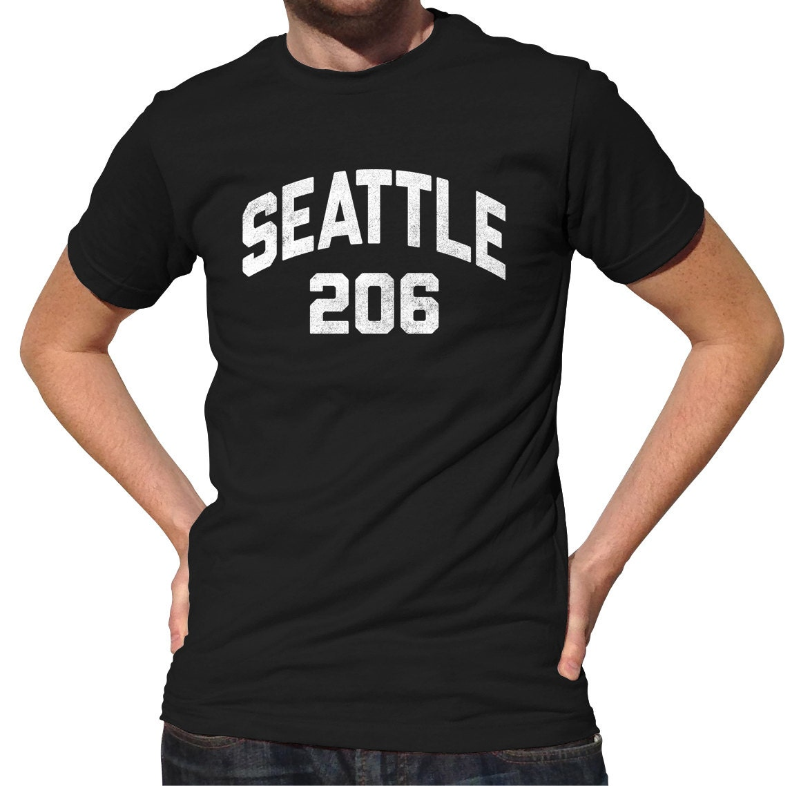 seattle 206 vorwahl t shirt retro washington state tshirt etsy. Black Bedroom Furniture Sets. Home Design Ideas