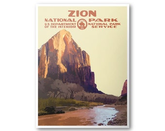 Zion National Park Poster Etsy